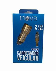 CARREGADOR VEICULAR INOVA V8 2USB 2.4/3.4A CAR-G5133