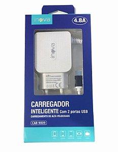 CARREGADOR INTELIGENTE INOVA MICRO USB V8 - 4.8A C/ 2USB CAR-9009-V8