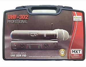 MICROFONE DUPLO UHF SEM FIO COM MALETA UHF-302 687.3MHZ/694.8MHZ