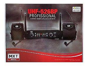 MICROFONE DUPLO HEADSET/LAPELA SEM FIO UHF - PLL 100 CANAIS - UHF-526BP