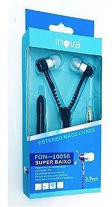 FONE DE OUVIDO ZIPER COM MICROFONE INOVA FON-10050