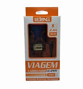 CARREGADOR DE VIAGEM MICRO USB V8 2.4A 2 USB LELONG LE-241V