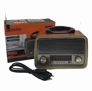 RADIO USB AM/FM COM LANTERNA BIVOLT BASIKE RAD-8714