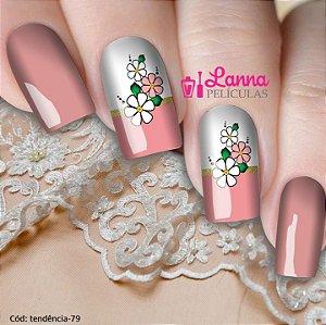 Adesivos ou Películas de unha- Modelo Francesa Floral