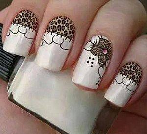 Películas ou Adesivos decorados para unhas  Onça e Flor