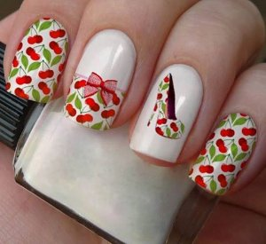 Películas ou Adesivos decorados para unhas  Cereja & sapatinho 02