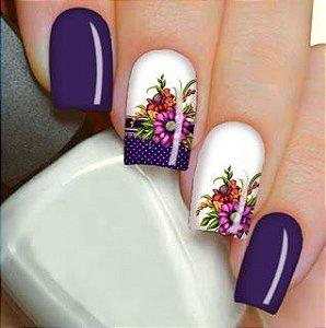 Películas ou Adesivos decorados para unhas  Floral Roxa
