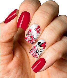 Películas ou Adesivos decorados para unhas  Minnie Rosas Vermelhas