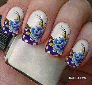 Películas de unha de unha- Floral Azul