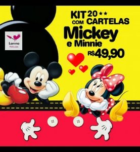 Kit 20 Cartelas Mickey e Minnie