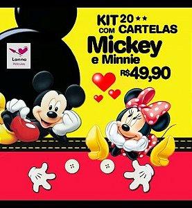 240 Películas de unhas Mickey e Minnie (20 Cartelas Sortidas no tema)