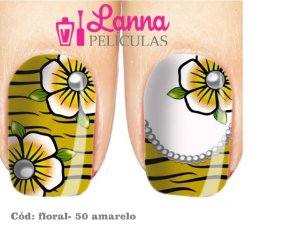 Películas de unha- Floral Amarelo