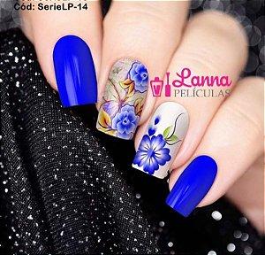 Películas de unha (SerieLP) - Floral Azul e Borboleta de Fundo