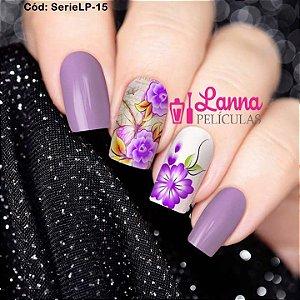 Películas de unha (SerieLP) - Floral Lilás e Borboleta de fundo
