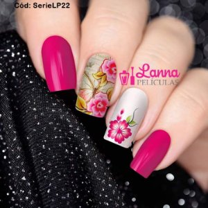 Películas de unha (SerieLP) - Floral Rosa e Borboleta de Fundo