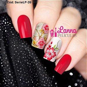 Películas de unha (SerieLP) - Floral Vermelho e Borboleta de fundo