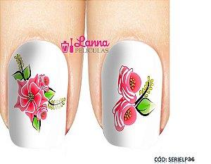 Películas de unha (SerieLP) - Floral Vermelho