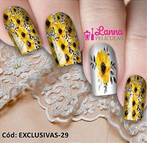 Películas de unha- Modelo Exclusivo Floral Amarela
