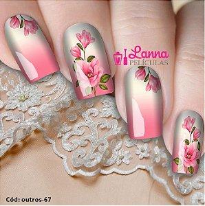 Películas decorados para unhas - Floral Rosinha