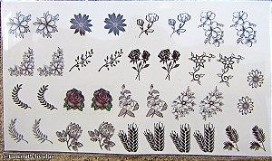 mini Cartelão Películas - Florais e Raminhos Pretas