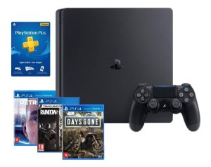 Console Playstation 4 Slim 1TB com 3 Jogos Days Gone Detroit e Rainbow Six Sony