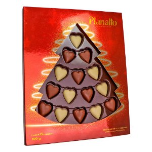 Estojo Árvore de Natal Corações 100g (Vermelho)