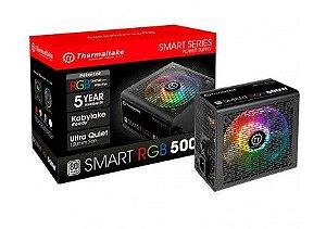 FONTE THERMALTAKE SMART SERIES RGB 500W PS-SPR-0500NHFAWX-1 PFC ATIVO CABOS FLAT
