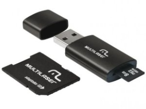 Kit Multilaser 3 em 1 Pen Drive - Micro SD 8 GB - Adaptador e Leitor de Cartão - MC058