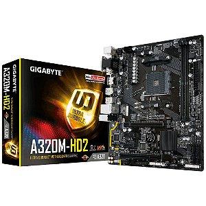Placa-Mãe GIGABYTE p/ AMD AM4 mATX GA-A320M-HD2 DDR4