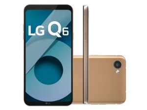 """Smartphone Lg Q6, Android 7.0, Dual Chip, Processador Octa-Core 1.4 GHz, Câmera Frontal 5MP e Traseira 13 MP, Tela 5.5"""", Memória interna 32 GB,Memória externa até 2TB, Memória RAM de 3GB, Rede 4G + WiFi - DOURADO"""