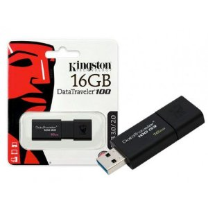 Pen Drive Kingston DT100 G3 16GB - Preto USB 3.0 - PN # DT100G3/16GB