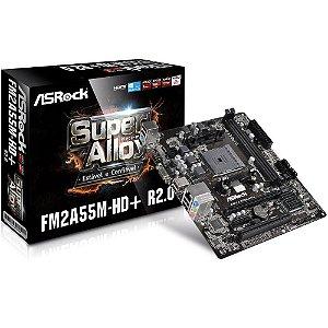 Placa-Mãe ASRock p/ AMD FM2+ mATX FM2A55M-HD+ R2.0 DDR3
