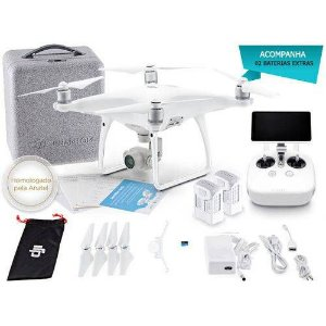DRONE DJIEB PHANTOM 4 ADVANCED+ COMBO C/ 02 BATERIAS E RADIO CONTROLE COM TELA INTEGRADA DE 5.5 P