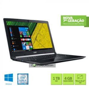 "Notebook Acer  Intel Core i5 8GB RAM 1TB HD 15.6"" HD Windows 10 A515-51-55QD"