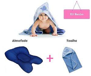 Kit Banho Bebê Almofada + Toalha Azul Clingo