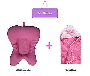 Kit Banho Bebê Almofada + Toalha Rosa Clingo