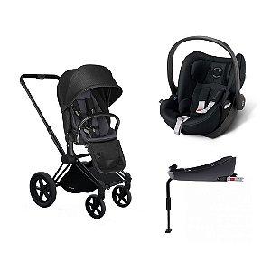 Carrinho Priam Stardust Black com Bebê Conforto Cloud-Q e Base Q-Fix Cybex