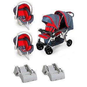 Carrinho de Bebê Gêmeos com 2 Cocoon e 2 Base Carro Galzerano