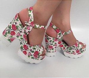 SL9976 - Tratorada Floral/Rosas Branca