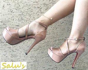 Sandália MeiaPata Nude verniz salto 13cm