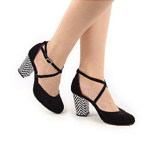 Sapato em Nobuck Salto Bloco 8cm