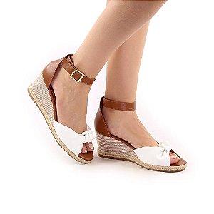 608 - Anabela 5cm branco com marrom