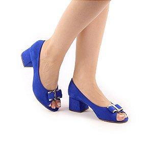 609 - Peeptoe 5cm Sued Klein (azul)