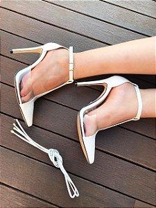 SL049 - Scarpin Chanel Croco Branco