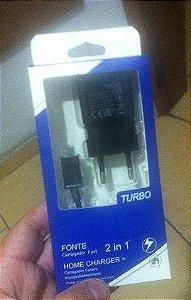 Carregador Cabo + Fonte Samsung Preta