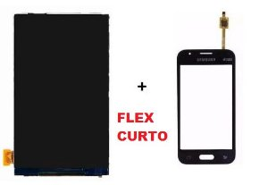 Combo Frontal Display Touch Samsung Ace 4 Sm G313 Preto Flex Curto