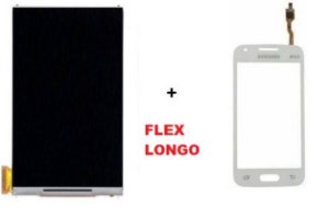Combo Frontal Display Touch Samsung Ace 4 Sm G313 Branco Flex Longo