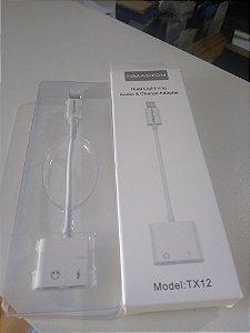 Adaptador de Iphone para carregador e entrada p2