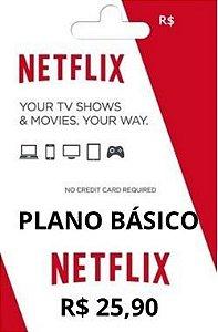Mensalidade Cartão Pré Pago Netflix Plano Básico R$25,90