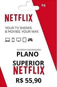 Mensalidade Cartão Pré Pago Netflix Plano Superior $55,90